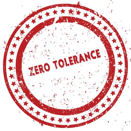 Red ZERO TOLERANCE distressed rubber stamp with grunge texture. Illustration Stock Photo