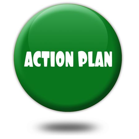 ACTION PLAN on green 3d button. Illustration graphic design concept image