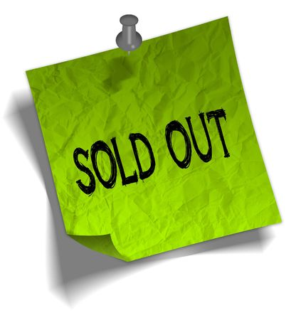 Green note paper with SOLD OUT message and push pin graphic illustration.