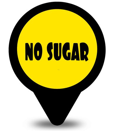 Yellow location pointer design with NO SUGAR text message. Illustration