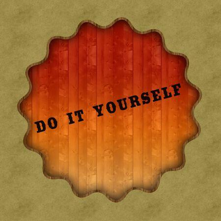 Retro DO IT YOURSELF text on wood panel background, illustration. Stockfoto