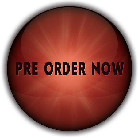 PRE ORDER NOW red button badge. Illustration image concept