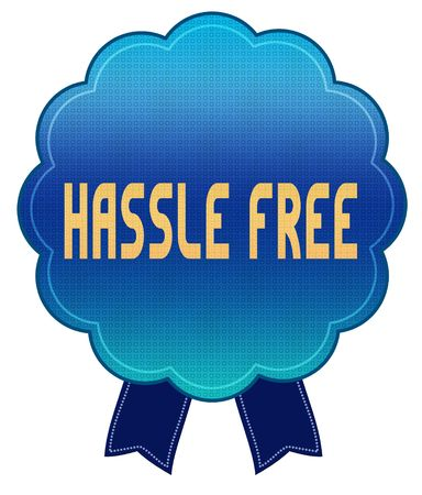 Blue HASSLE FREE ribbon badge. Illustration graphic design concept image