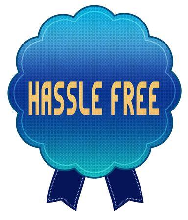 Blue HASSLE FREE ribbon badge. Illustration graphic design concept image