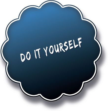 DO IT YOURSELF text written on blue round label badge. Illustration