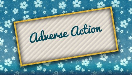 Painting with ADVERSE ACTION message on blue wallpaper with flowers. Illustration