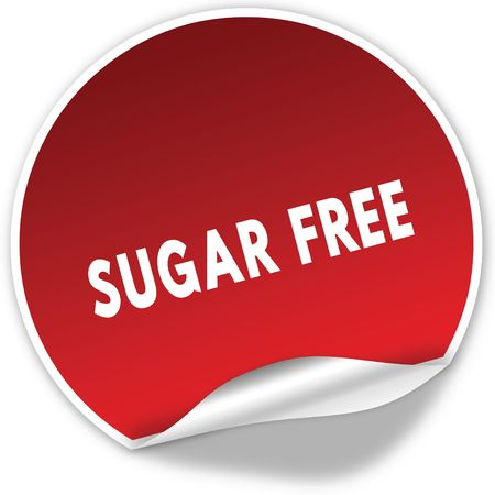SUGAR FREE text on realistic red sticker on white background. Illustration Stockfoto