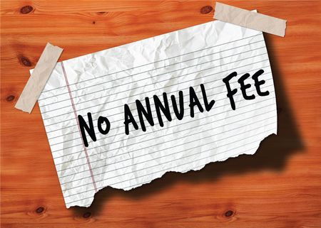 NO ANNUAL FEE handwritten on torn notebook page crumpled paper on wood texture background. Illustration Stockfoto - 103213324