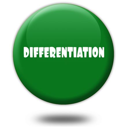 DIFFERENTIATION on green 3d button. Illustration graphic design concept image Stockfoto