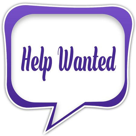 Violet square speech bubble with HELP WANTED text message. Illustration Stockfoto