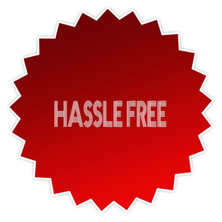 HASSLE FREE on red sticker label. Illustration graphic design concept image
