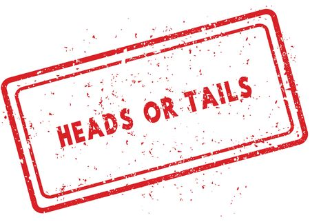 Red HEADS OR TAILS rubber stamp. Illustration graphic image concept Stock Photo
