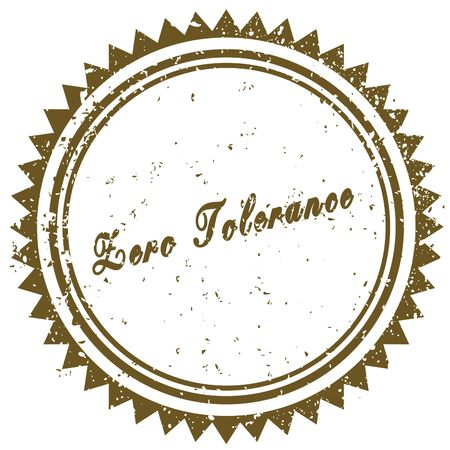 Brown ZERO TOLERANCE grunge stamp. Illustration image concept