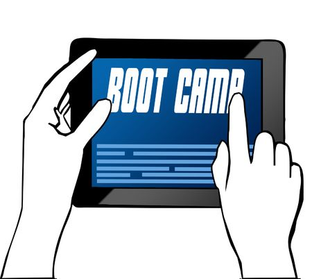Hand pointing at BOOT CAMP text on tablet. Illustration. Graphic concept
