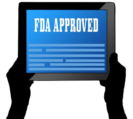 FDA APPROVED on tablet screen, held by two hands. Illustration
