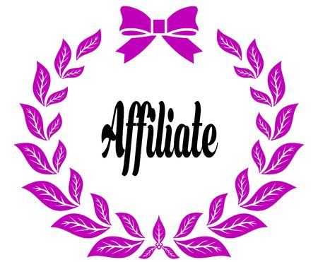 AFFILIATE with pink laurels ribbon and bow. Illustration concept