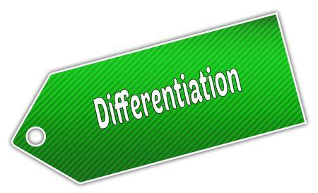 Striped green DIFFERENTIATION label. Illustration graphic design concept image