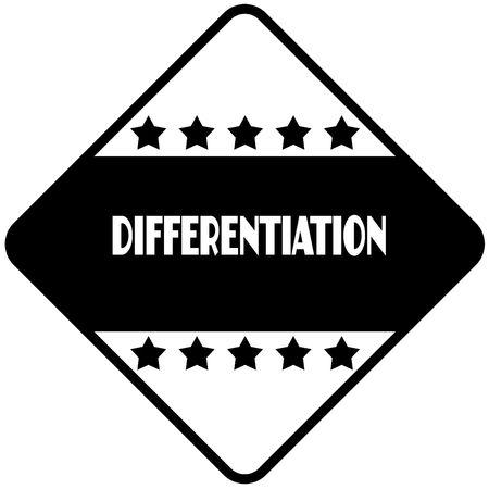 DIFFERENTIATION on black diamond shaped sticker label. Illustration