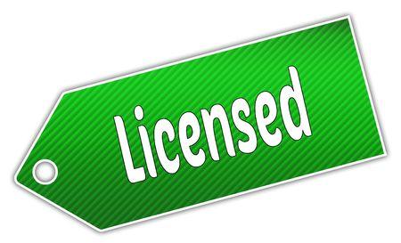 Striped green LICENSED label. Illustration graphic design concept image Stock Photo