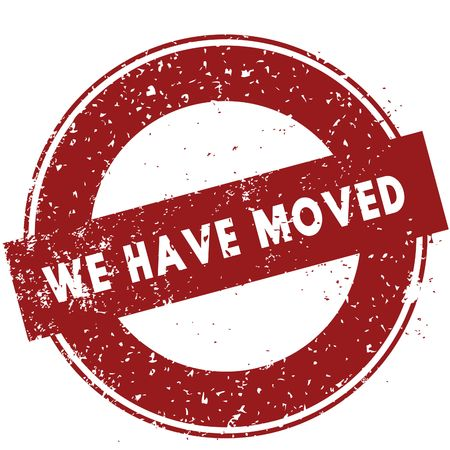 Red WE HAVE MOVED rubber stamp illustration on white background. Image Stock Photo