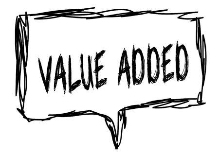 VALUE ADDED on a pencil sketched sign. Illustration graphic concept. Banco de Imagens