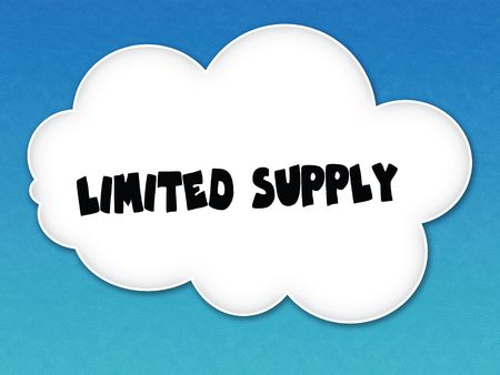 White cloud with LIMITED SUPPLY message on blue sky background. Illustration Foto de archivo