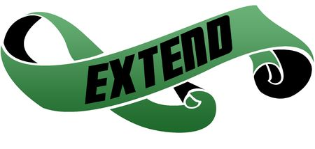 Green scrolled ribbon with EXTEND message. Illustration image Archivio Fotografico - 100395273
