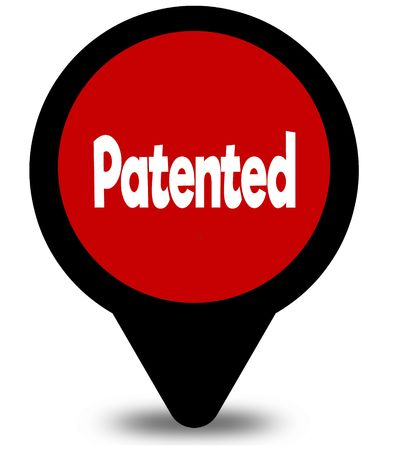 PATENTED on red location pointer illustration graphic