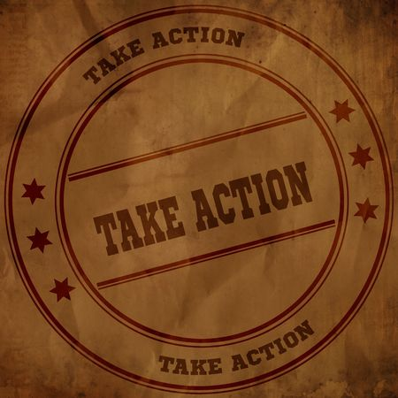 TAKE ACTION stamp on old brown crumpled paper. Illustration