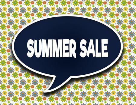 Dark blue word balloon with SUMMER SALE text message. Flowers wallpaper background. Illustration Stockfoto