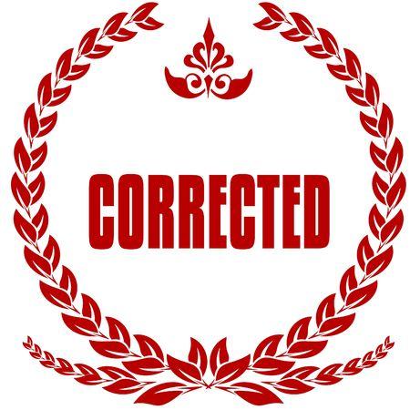 CORRECTED red laurels badge. Illustration image concept