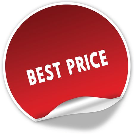 BEST PRICE text on realistic red sticker on white background. Illustration Banco de Imagens