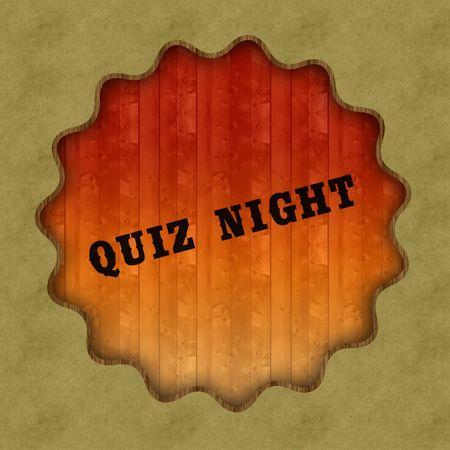 Retro QUIZ NIGHT text on wood panel background, illustration. Stockfoto