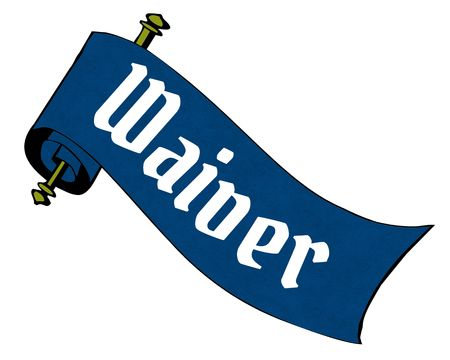 WAIVER on blue paper scroll cartoon. Illustration image