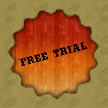 Retro FREE TRIAL text on wood panel background, illustration. Stockfoto