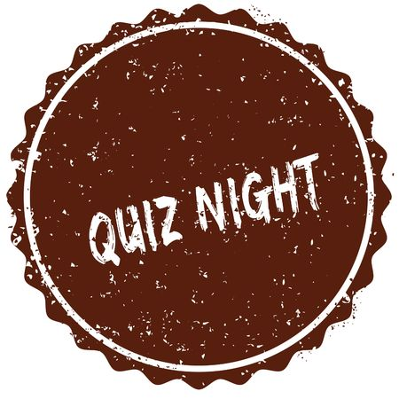 Grunge rubber stamp with the text QUIZ NIGHT written inside the stamp. Illustration