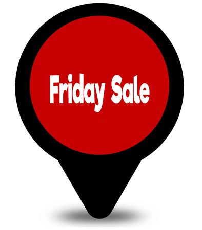 FRIDAY SALE on red location pointer illustration graphic Stockfoto