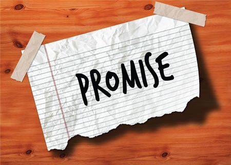PROMISE handwritten on torn notebook page crumpled paper on wood texture background. Illustration