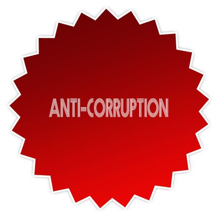 ANTI CORRUPTION on red sticker label. Illustration graphic design concept image