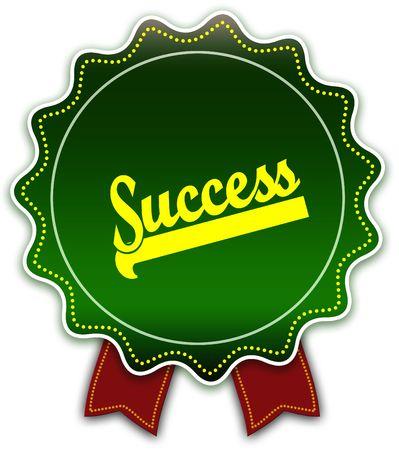 SUCCESS round green ribbon. Illustration graphic design concept image