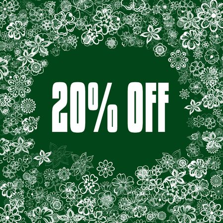 20 PERCENT OFF on green banner with flowers. Illustration image concept Stockfoto
