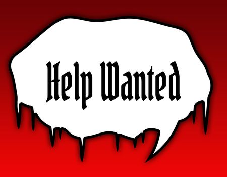 Horror speech bubble with HELP WANTED text message. Red background. Illustration Stockfoto