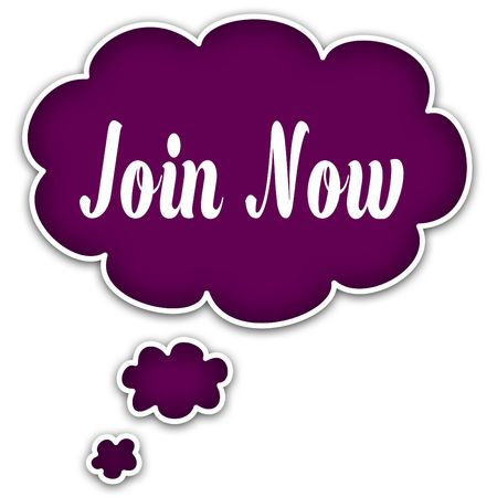 JOIN NOW on magenta thought cloud. Illustration graphic concept