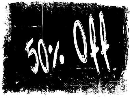 50 PERCENT OFF on black grunge background. Illustration image concept