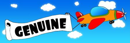 Cartoon aeroplane and banner with GENUINE text on a blue sky background. Illustration concept. Stockfoto