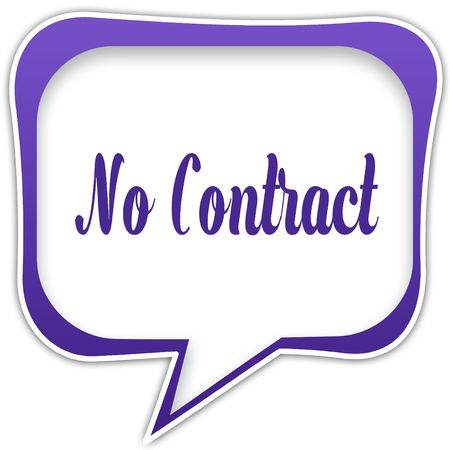 Violet square speech bubble with NO CONTRACT text message. Illustration
