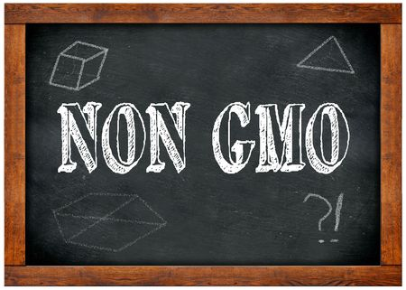 Wood frame blackboard with NON GMO text written with chalk. Illustration
