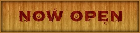 Vintage font text NOW OPEN on square wood panel background. Illustration