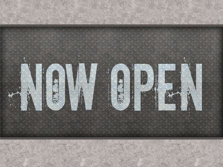 NOW OPEN painted on metal panel wall illustration.