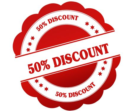 50 PERCENT DISCOUNT red round rubber stamp. Illustration graphic concept